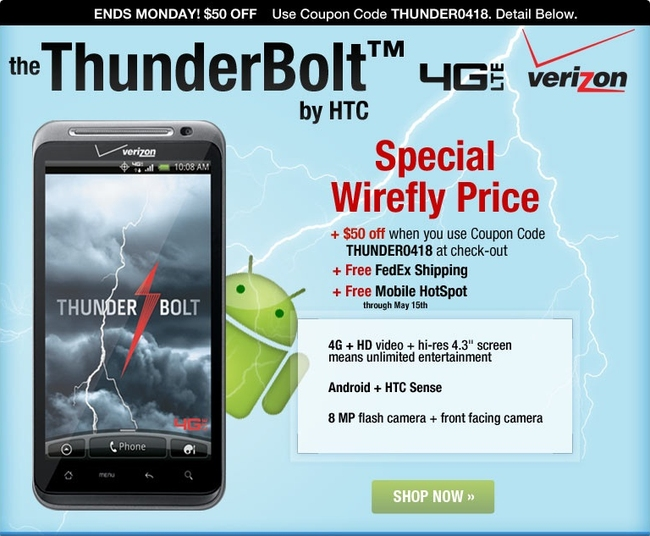 Wirefly offers HTC Thunderbolt 4G  for just $149.99
