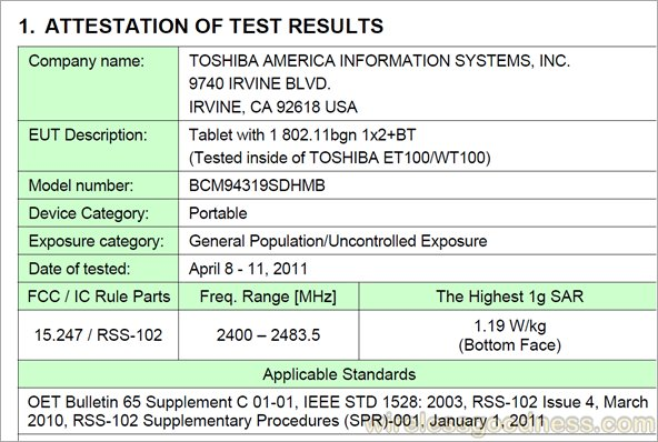 Toshiba ET100 and WT100 Tablets get through FCC