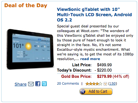"Amazon offers 10"" ViewSonic G Tablet for just $220 after a Discount"