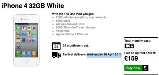 White iPhone 4 hits Three UK order page