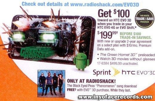 Sprint HTC Evo 3D Smartphone Price revealed; RadioShack Promo leaks
