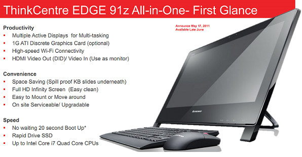 Lenovo ThinkCentre Edge 91z AIO PC spotted online; Specs, Price and release date revealed in PDF