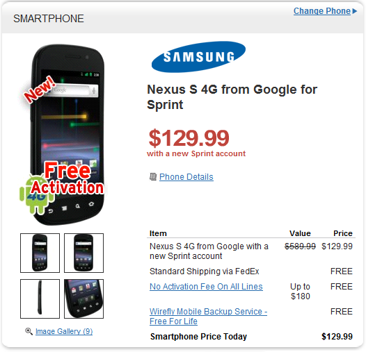 Wirefly Offer: Google Nexus S 4G Smartphone for Sprint now at $129.99 on Two-year Contract