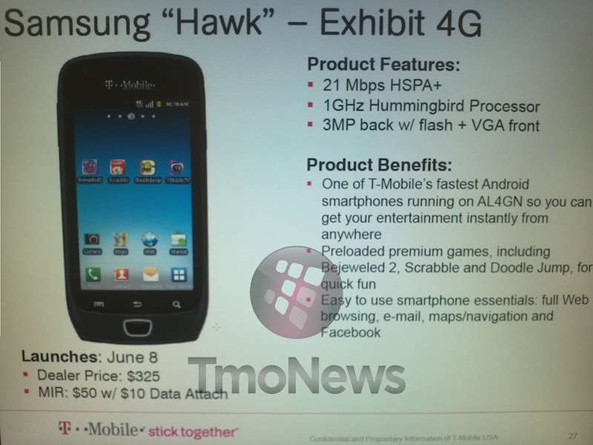 Samsung Hawk aka Exhibit 4G Android 2.3 Gingerbread smartphone Release date for T-Mobile confirmed as June 8