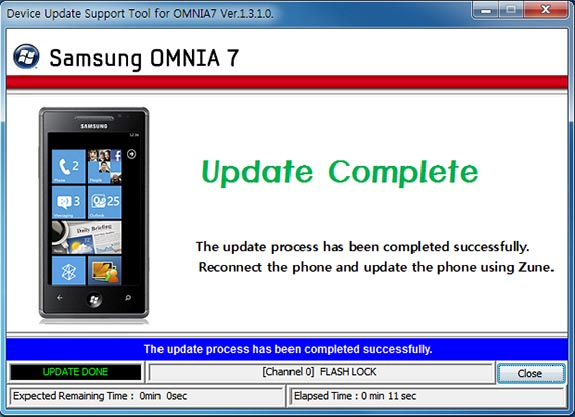 Samsung Omnia 7 Patch released; Fixes WP7 Build 7392 Update Errors