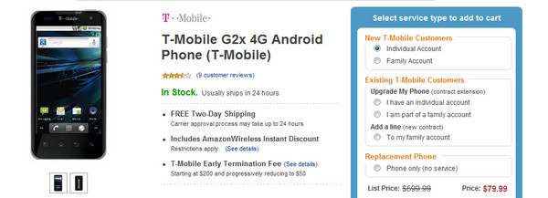 Amazon offers T-Mobile G2x 4G Smartphone now for just $79.99 on Two-year Contract