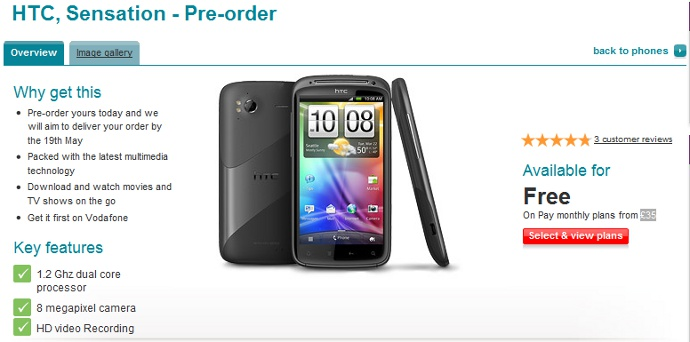 Vodafone UK begins the Pre-orderfor HTC Sensation; Release Date May 19?
