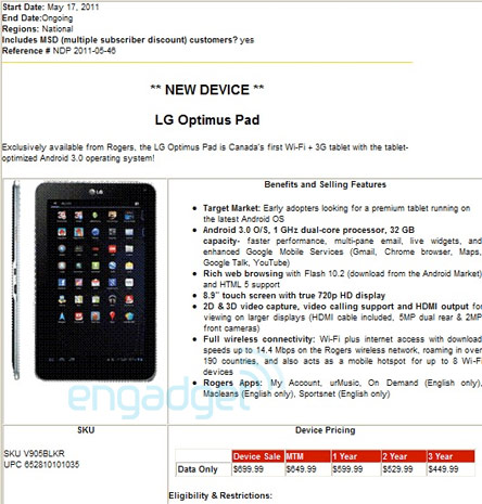LG Optimus Pad Honeycomb Tablet Price and Release Date confirmed for Rogers