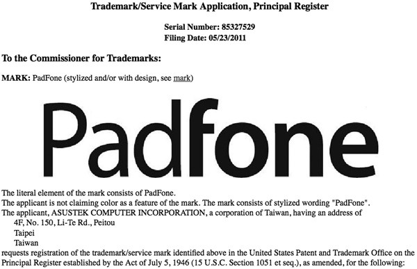 "ASUS applies for ""PadFone"" Trademark at U.S. Patent and Trademark Office; Name for the Phone-docking Tablet"