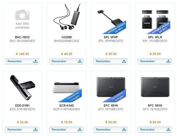 Samsung Galaxy Tab 10.1 Tablet accessories released in Germany