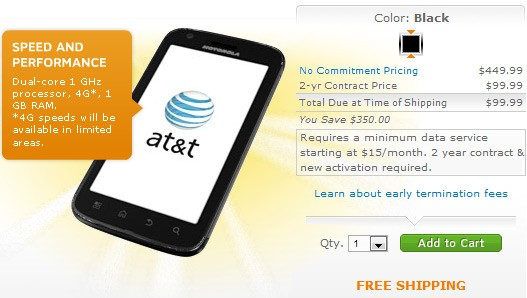 AT&T Motorola ATRIX 4G Smartphone gets price cut; now for $99