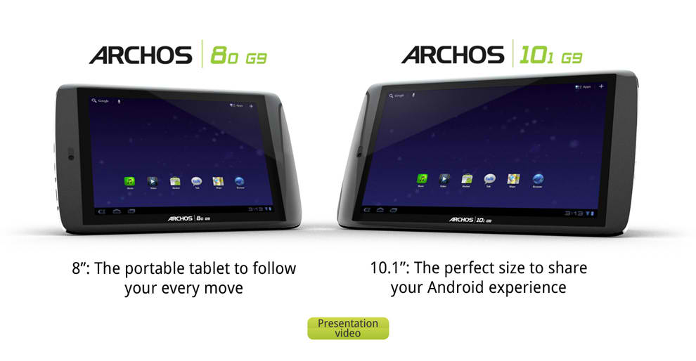 Archos to release Archos 80 G9 and 101 G9 Honeycomb Tablets; Specs and Price