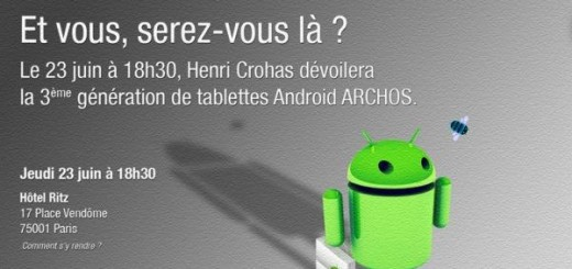 "On 23 June the French manufacturer Archos, will present in Paris its new range of tablet Gen 9, which besides being the ninth generation of touch pads and also his third OS Android. A range which will consist of several Android 3.0 Honeycomb, according to the latest rumors, a dual-heart and a TI OMAP 4460 PowerVR graphics chip SGX540 that supports video playback in Full HD 1080p. Note that the Bugdroid shown on the flyer is to hand a bag that is none other than the logo of the Android Market, is therefore likely that it is present on this new range Gen. 9. And what is the number of shelves and different screen sizes, it was not until June 23. Otherwise, we have the familiar Android robot, but if you look closely you will see him holding what appears to be an Android Market icon. And for those who may not be as familiar with the previous Android offerings from Archos — they all failed to have Android Market access. Well, technically you can get the Market on your Archos devices and while it is easy enough to do it comes as a third party hack. It is said that Archos' third Android slate will run on an 1.6GHz ARM A9 dual-core chip as well as feature an integrated 3G modem, which means it intends you to go online wherever and whenever you feel like it without subjecting yourself to the mercies of a possible Wi-Fi network. We're expecting Archos to keep the low prices they have been known for, yet satisfy the larger crowds with more ""Google"". The event is on June 23rd at 6:30 pm at the Ritz Hotel in Paris and we'll be keeping an eye on things. Do you own an Archos device with Android? What would you change about it?"