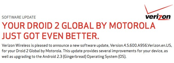 Verizon releases Android 2.3 Gingerbread Update for Motorola Droid 2 Global Smartphone