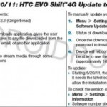 Sprint HTC Evo Shift 4G and Evo 4G gets OTA Update for 2.3 Gingerbread and Bug fixes; Release Date June 20