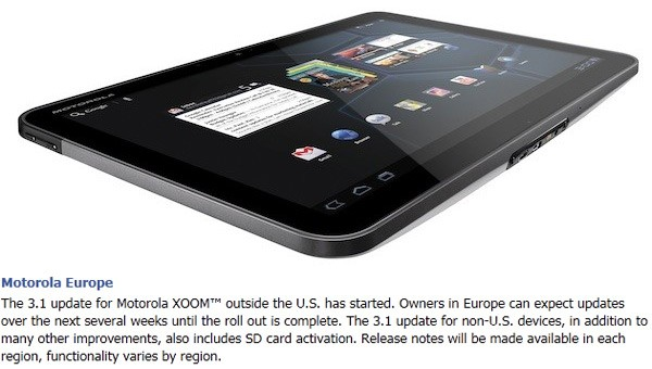 Motorola releases XOOM Android 3.1 Honeycomb Update worldwide; activated microSD Slot