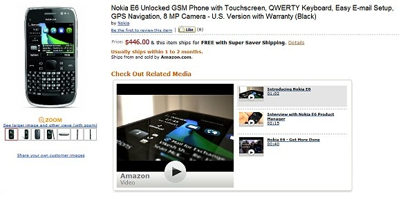 Nokia E6 Symbian Anna Smartphone on Pre-order at Amazon for a Price of $446