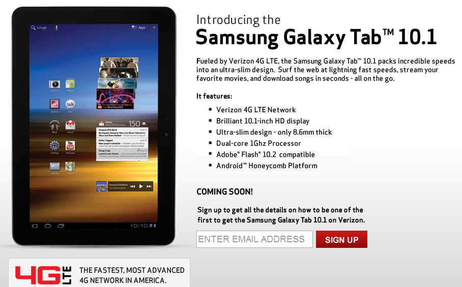 Verizon Samsung Galaxy Tab 10 1 4G LTE Tablet Price and Pre-order
