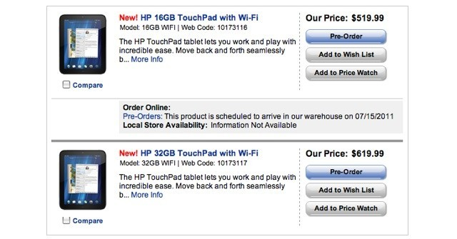 HP TouchPad webOS Tablet goes on Pre-order in US and Canada; Starting Price $499