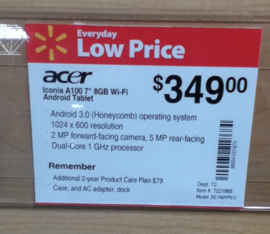 Acer Iconia Tab A100 Tablet appeared on Walmart with Price; releasing soon?