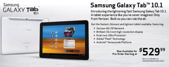 Samsung Galaxy Tab 10.1 for Verizon on Pre-order for a starting Price of $530; Shipping in 4-6 Weeks