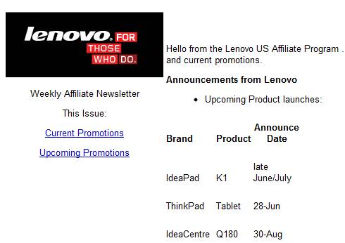 Lenovo ThinkPad, IdeaPad Tablets release date expecting this month