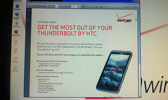 Verizon HTC Thunderbolt 4G Smartphone Android 2.3 Gingerbread OTA Update Release Date June 30?