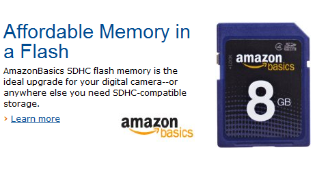 Amazon offering AmazonBasics affordable SDHC Flash Memory cards