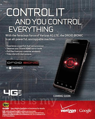 Best Buy Ad Leak: Verizon Motorola Droid Bionic new Image confirms Redesign