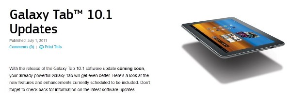 Samsung to release Update for Galaxy Tab 10.1 soon; brings TouchWiz on Honeycomb