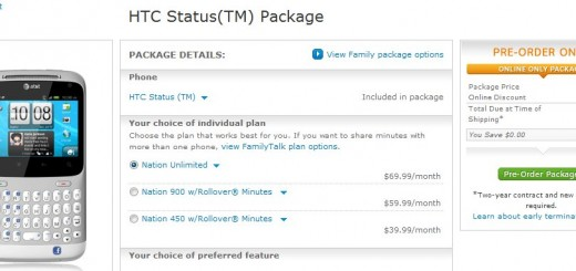 AT&T HTC Status goes on Pre-order; Pricing $49.99
