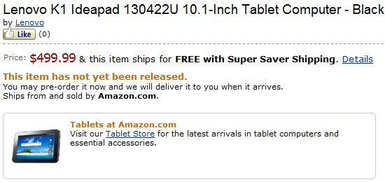 Lenovo IdeaPad K1 Tablet Amazon pre-order starts today; Priced as $500