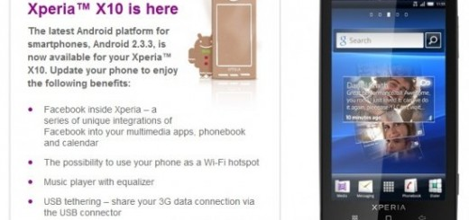 Sony Ericsson XPERIA X10 2.3 Gingerbread Update released