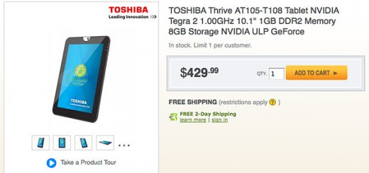 "Toshiba Thrive 10.1"" Tablet no on Sale at Amazon and NewEgg; Best Buy releasing on July 10"