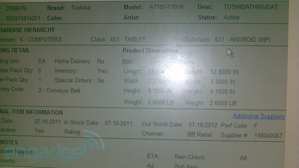 Toshiba Thrive Tablet Release Date July 10?