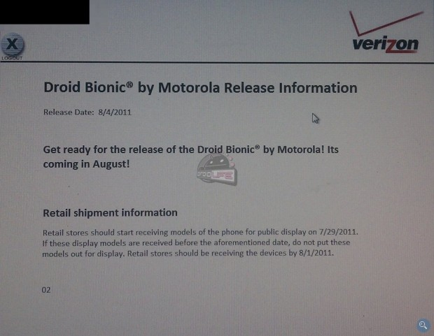 Verizon Motorola Droid Bionic to be displayed on July 29th; Release Date August 4