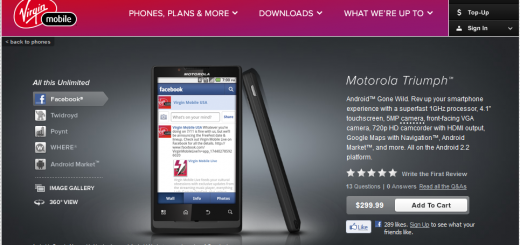 Virgin Mobile Motorola Triumph goes on Sale for Price of $299.99 Off Contract
