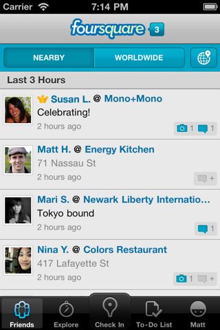 Foursquare App for iOS get updated to v3.3; brings Notification Tray
