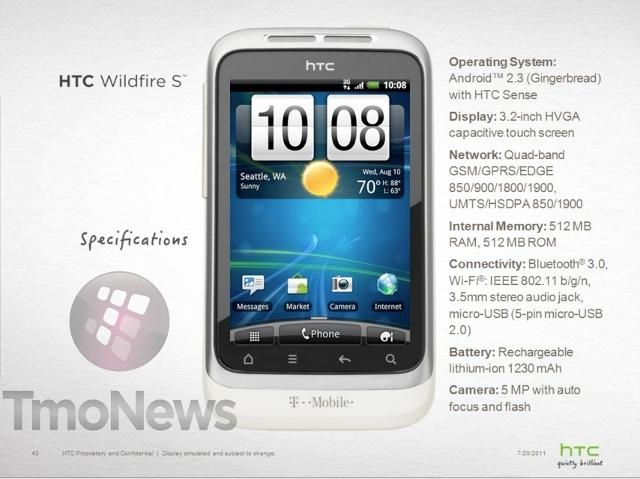 T-Mobile to release HTC Wildfire S with Android 2.3 Gingerbread on board