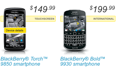 Sprint releases BlackBerry Bold 9930 and Torch 9850; AT&T launches Torch 9810