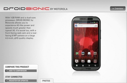 Droid Bionic priced $299; release date on September 8