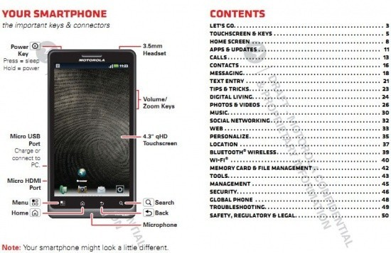 Verizon Motorola Droid Bionic 4G User Manual leaks