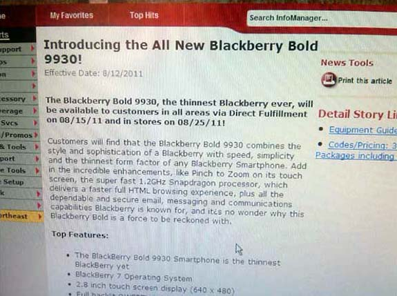 Leak: Verizon BlackBerry Bold 9930 Release Date August 15th and 25th?