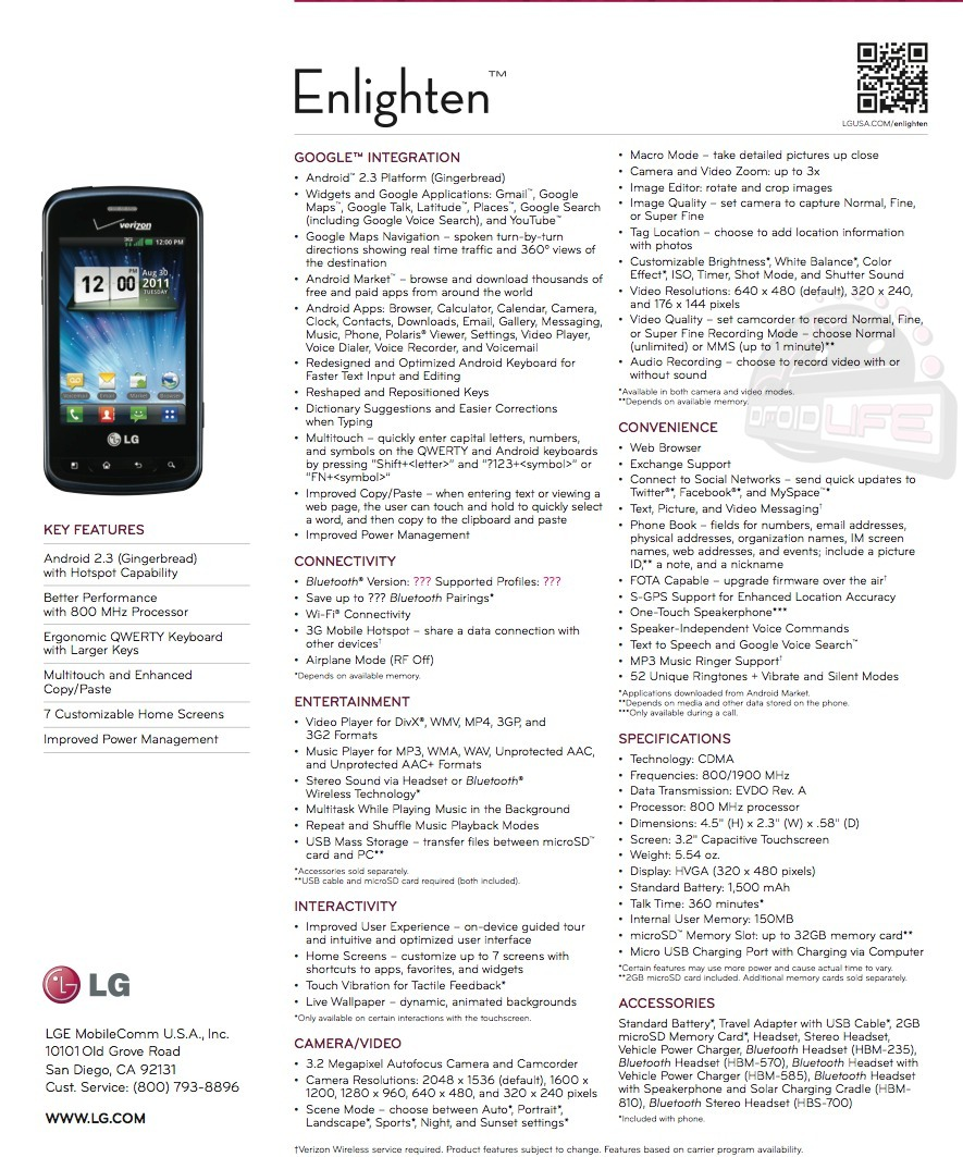 LG Enlighten Smartphone for Verizon leaked with full Specs; Release Date August 25th?