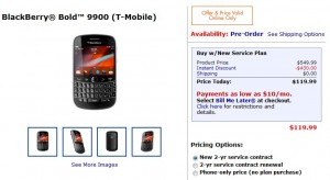 Walmart offers the T-Mobile BlackBerry Bold 9900 for just $199.99 for New Customers