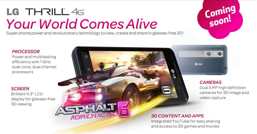 LG Thrill 4G aka Optimus 3D for AT&T Release Date confirmed via Twitter
