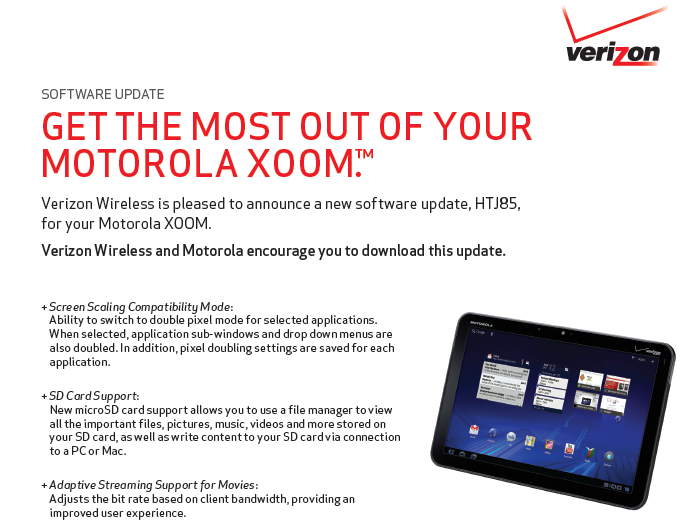 Verizon Motorola XOOM gets OTA Software Update