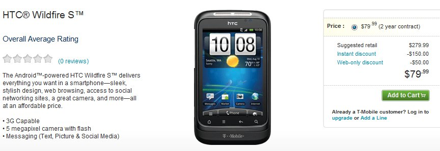 T-Mobile HTC Wildfire S on Sale for Price of $79.99