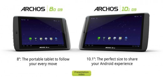 Archos 101 and 80 G9 Tablets Pre-order begins on September 20th; Releasing in October
