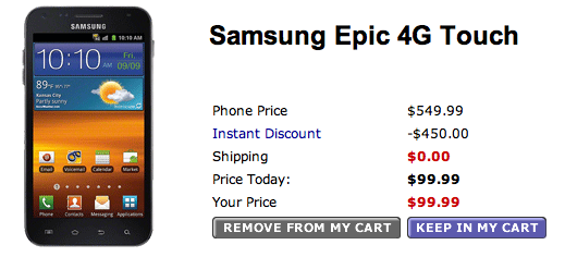 Sprint Samsung Epic 4G Touch for Pre-order at Walmart for just $99